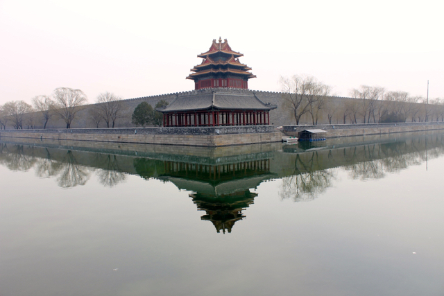Watchtower on the Northwest Corner of the Forbidden City, Beijing, from across the moat