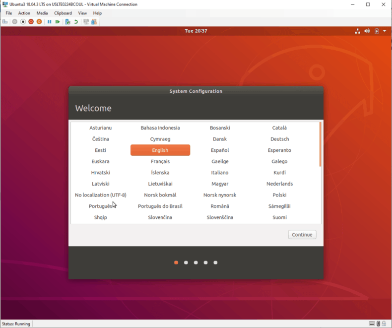 Ubuntu first time boot configuration screens