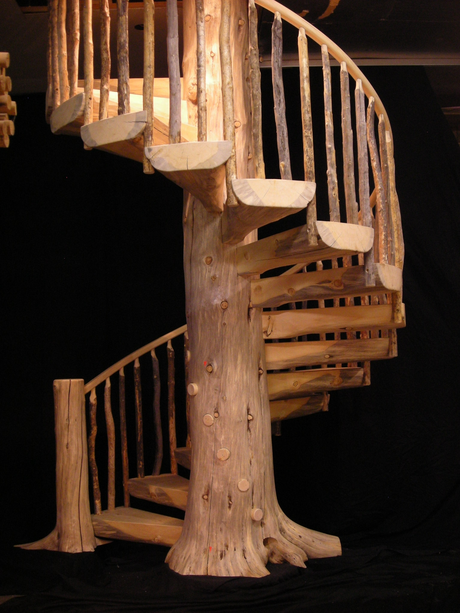 Custom Wood Stairs Gallery Log Stairs | Wood Spiral Staircase Plans | Before And After | Simple | Construction | Kid Friendly | Winding