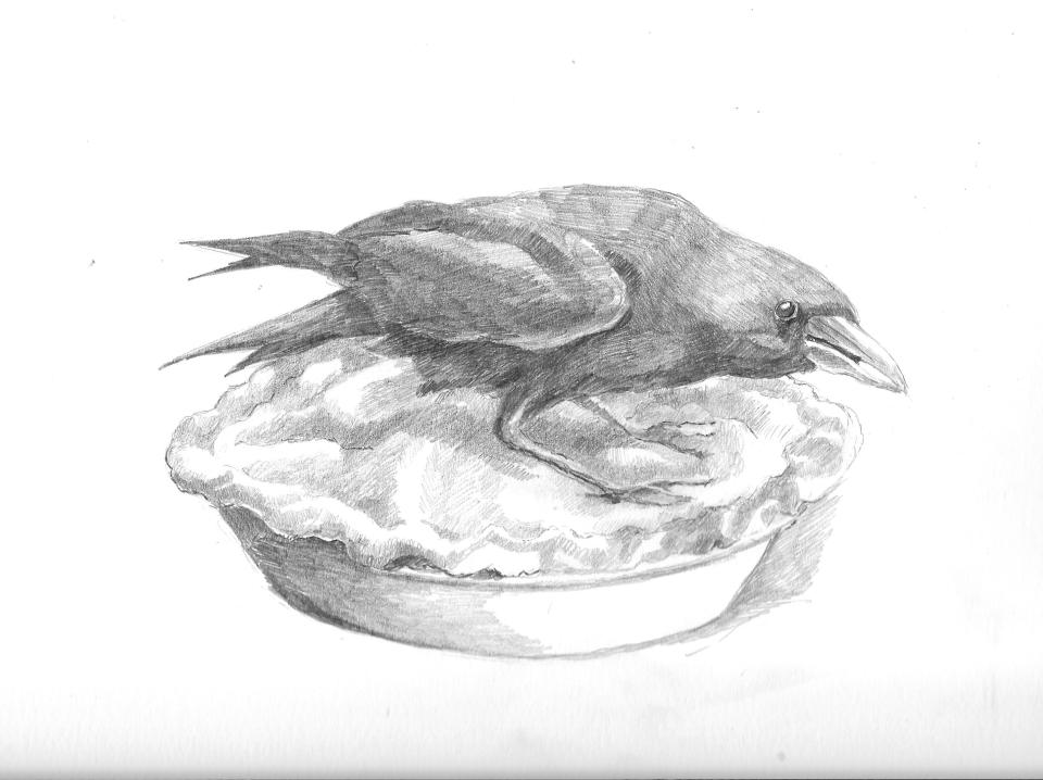 Crow on a pie