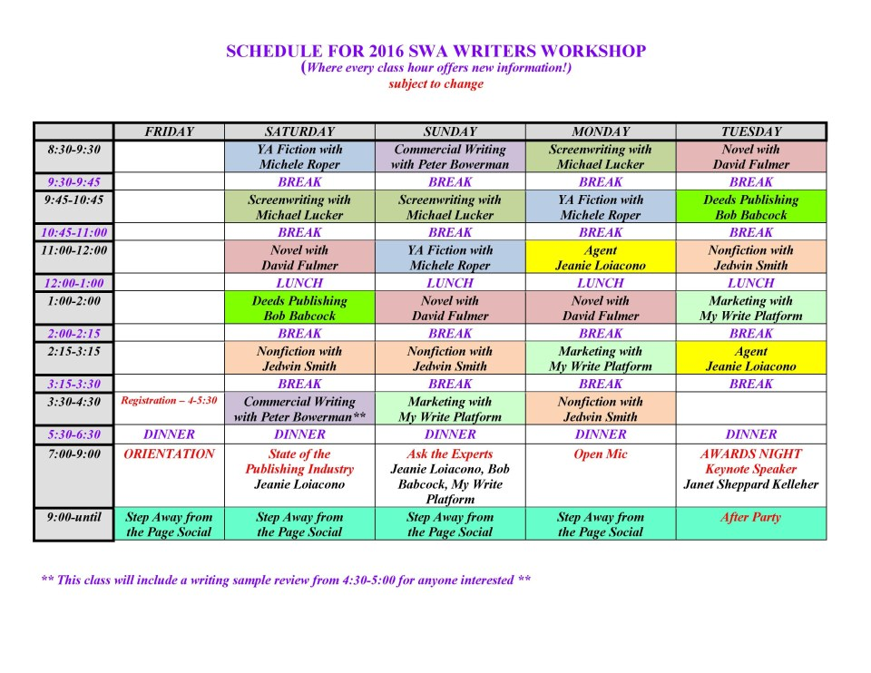 SWA 2016 schedule