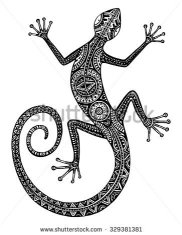 stock-vector-vector-hand-drawn-monochrome-lizard-or-salamander-with-ethnic-tribal-patterns-beauty-reptile-329381381
