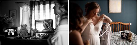 Plusieurs photos montrant les préparatifs de la mariée en visio avec sa famille.