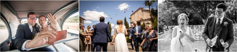 Plusieurs photos de l'arrivée des mariés sur le lieu de reception