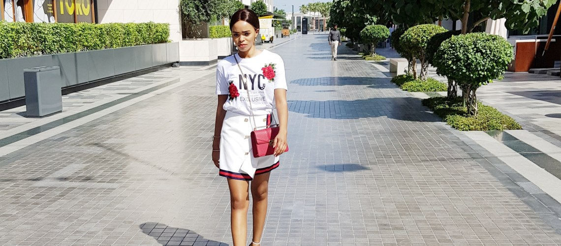 Red and white t-shirt and gucci skirt