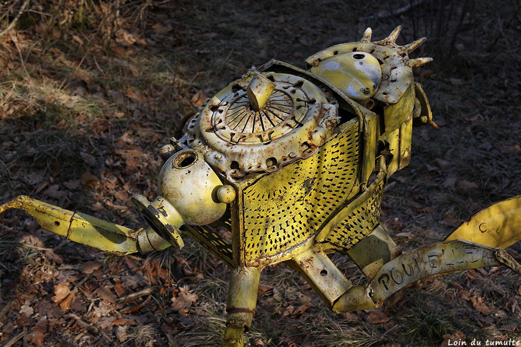 """""""Megastriops orientalis"""" de Matthieu Rapp, oeuvre visible sur le sentier art et nature à Taninges"""