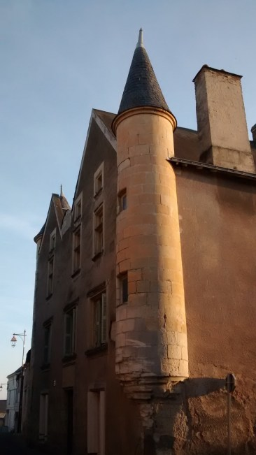 North tower facing medieval village street at rue de la Cour Nault and rue St. Denis
