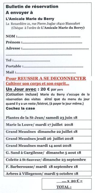 Bulletin d'inscription UN JOUR AVEC - Amicale Marie du Berry été 2018