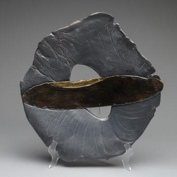 Image: Coal Black Wall Plate - Lois Sattler, American Artist, Ceramicist