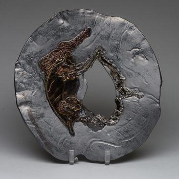 Slate Chestnut Leaf Plate - Lois Sattler, American Artist, Ceramicist