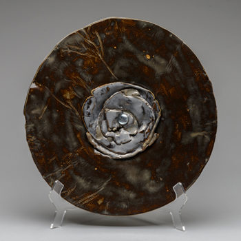 Image: Bronzed Plate with Silver - Lois Sattler, American Artist, Ceramicist