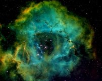 Rosette Nebula 1-6-2014 Waukesha, W These images were formed by a technique call Narrow Band Imaging with the use of the Hubble color palette. Typically eight 30min exposures are taken for each of three different filters. The filters pass ionized sulfur, hydrogen, and oxygen wavelengths to form the red, green and blue components of the color image. In total, it takes about 12hours of imaging time to form each image. The images were taken through a 130mm refactor telescope with an 8 mega pixel astronomical camera. There is some addition post-processing with PhotoShop.