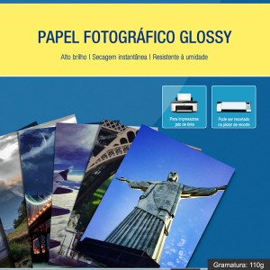 Papel Fotográfico Glossy A4 110g 100 Folhas