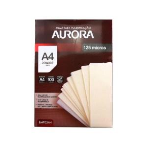 Plástico para Plastificação Aurora A4 125 Micras - 100 folhas