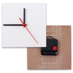 Relógio Fosco para Sublimação Quadrado Branco 20x20 - 1 Un.
