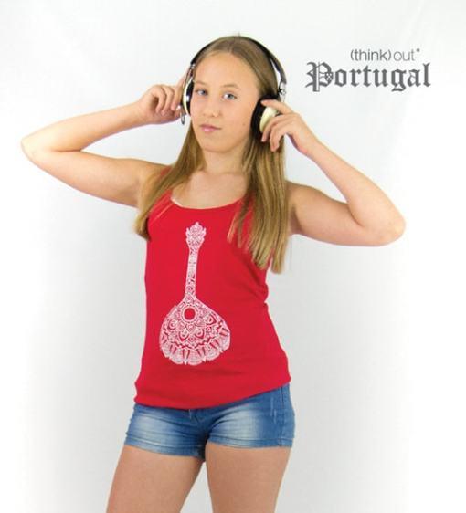 Top de Senhora Vermelho Fado - Guitarra Portuguesa