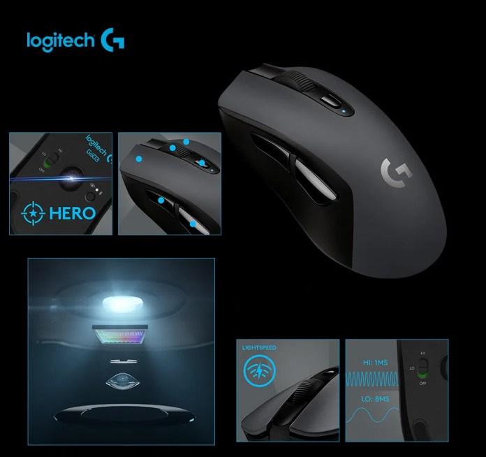 Mouse Sem Fio Gamer Logitech G603 Hero Lightspeed Bluetooth 12000 DPI 6  Botões- 910-005100 - lojaibyte