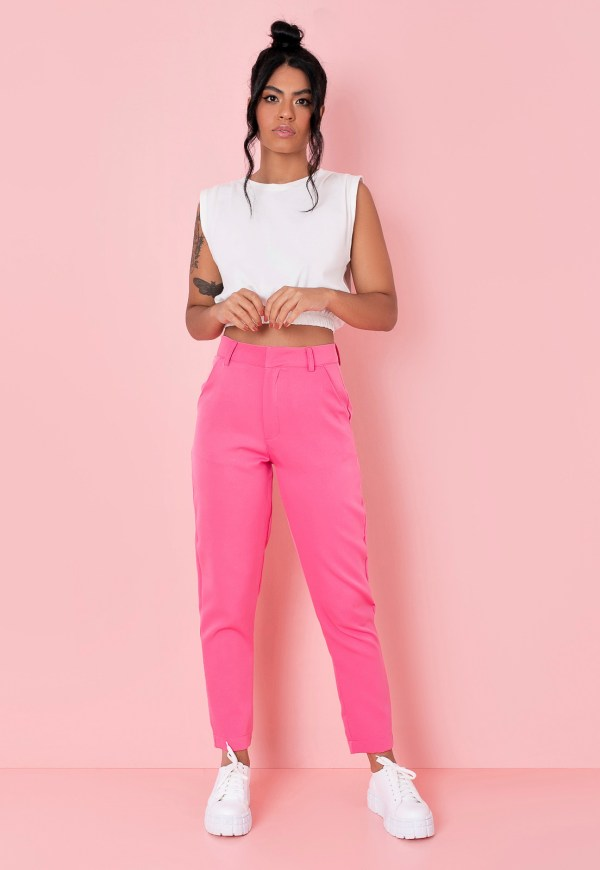Calca alfaiataria rosa feminina direto fabrica atacado varejo estilo tendencia comprar online moda