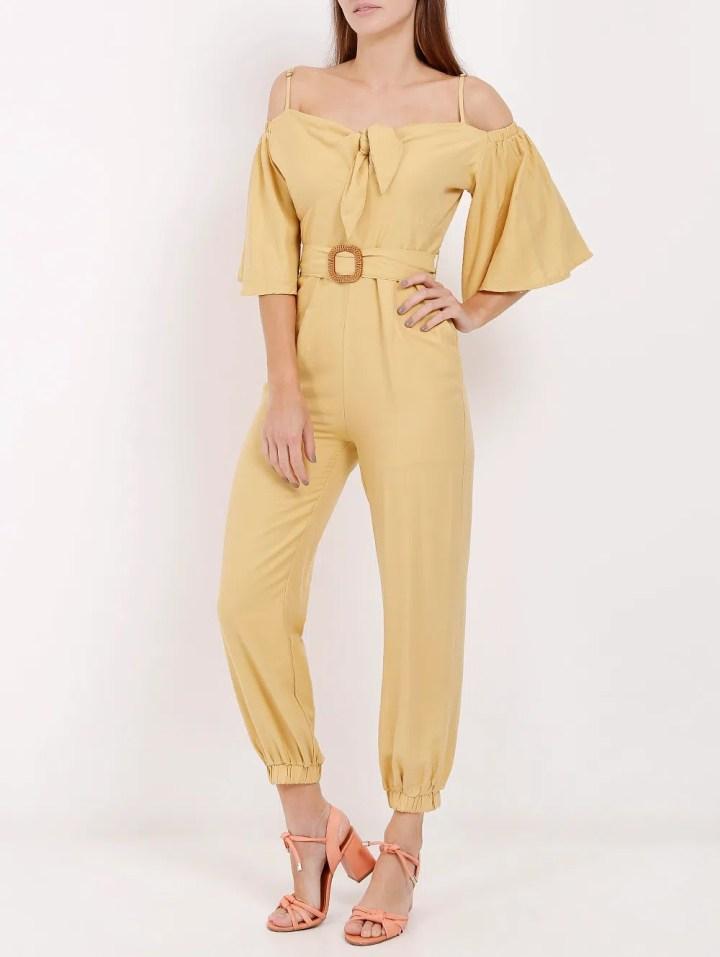 Macacão Longo Feminino Amarelo - Lojas Pompeia