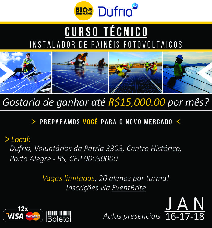 Curso de Enegia Solar Fovoltaica – Porto Alegre 2018