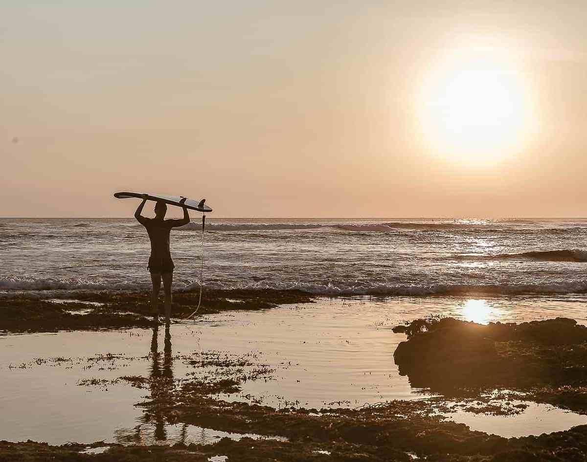 surfer sunset bali