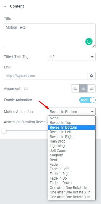 Motion Text Elementor Widget by Elementskit