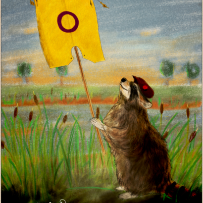Vintage-style ad depicting a racoon holding an Intersex pride flag. The text reads : Be Proud Of Your Nature, Your Choices, Your Fights