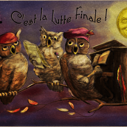 Vintage-style ad depicting three owls on a branch singing