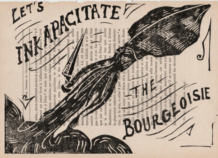Linogravure noire représentant un calmar anticapitaliste avec un couteau