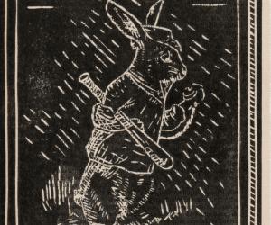 Linogravure noire représentant un lapin avec une batte de baseball