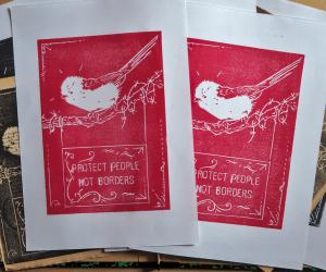 Plusieurs linogravures rouges placées dans un décor d'objets anciens et représentant un oiseau sur un panneau pro-migrant