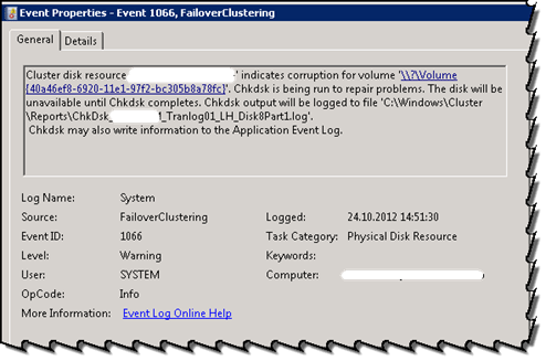 Event 1066 from FailoverClustering