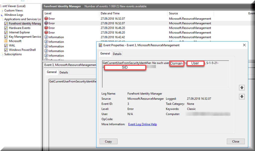 Event ID 3 from Resourcemanager: No such user - BlackCat Reasearch
