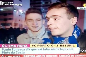 Reacção de alguns adeptos do Porto depois da derrota com o Estoril