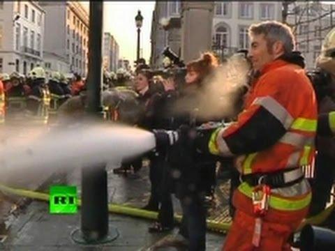 Manifestação de bombeiros em Bruxelas