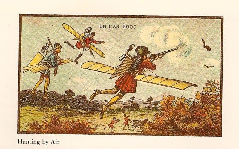 Caça aérea - A vida no ano 2000 imaginada cem anos antes