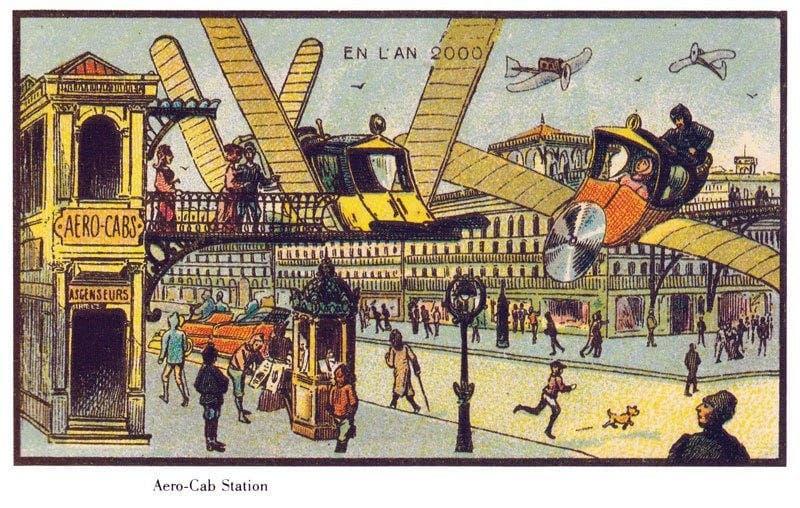 Táxis aéreos - A vida no ano 2000 imaginada cem anos antes