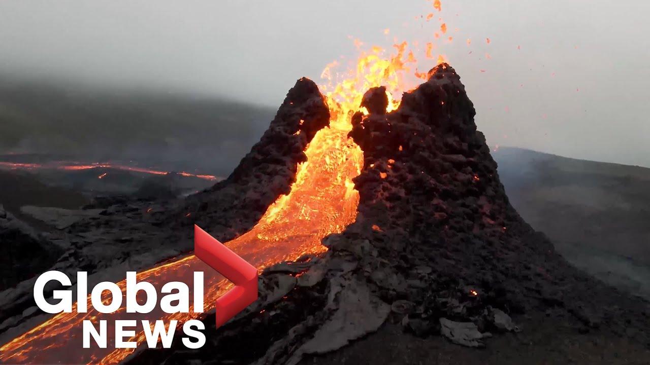 video de vulcao ativo na Islândia