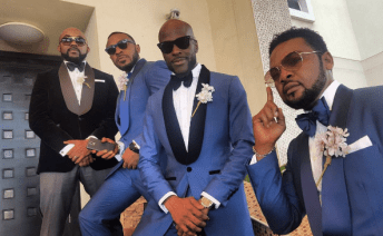 Carefree bestman (2nd from right) posing with the groomsmen