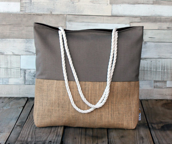 Bolso bolsa playa bag beach tasche Strandtasche hecho diseño españa tela saco arpillera sackcloth Sackleinwand lona canvas slow tienda comprar taller confeccion Lolahn Handmade - marron 1