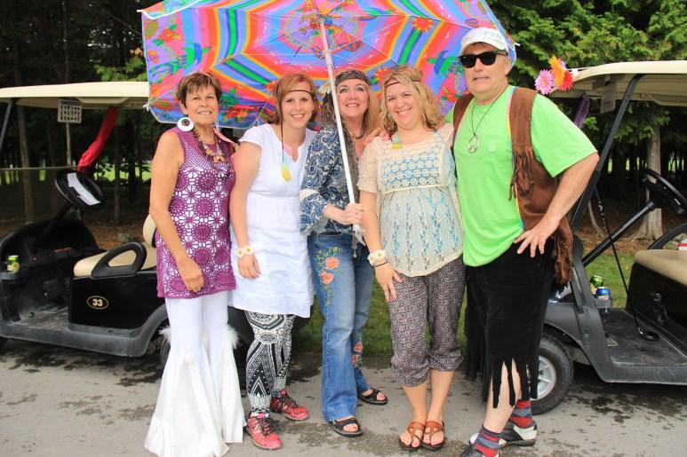 Neil Ellis with Bell-bottomed hippies Jane Mulligan, Angela Montgomery, Carol Feeney, & Karla Brennan