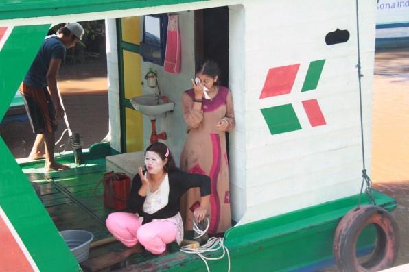 Boat crew with rice paste sun block