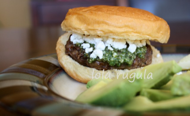 lola-rugula-lamb-burgers-with-pesto-and-goat-cheese