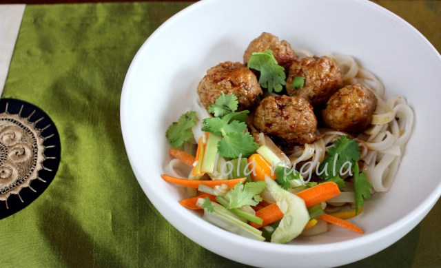 lola rugula garlic and ginger meatballs with asian bbq sauce