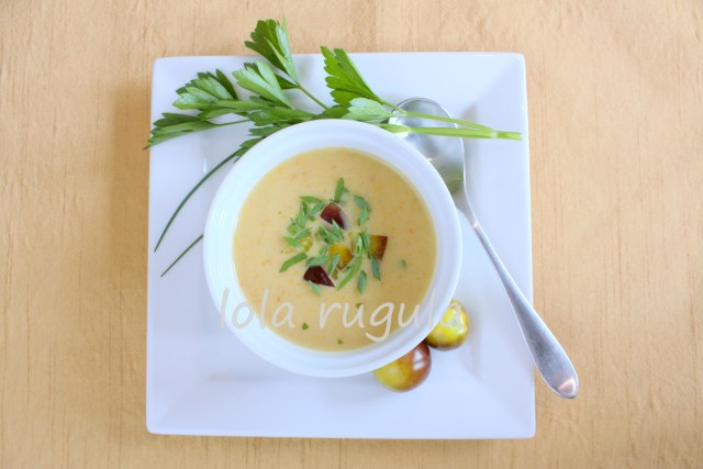 lola rugula golden gazpacho with cherry tomatoes
