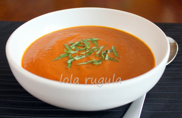 lola rugula roasted tomao and veggie gazpacho