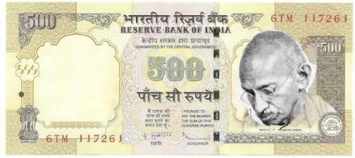 sad gandhi on 500 note