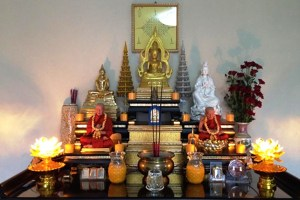 Honoring the death inside a home at one of the Spirit houses of Southeast Asia