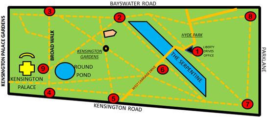 Mapa de Paradas no Hyde Park