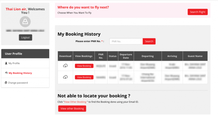 Passagem Low Cost Tailândia - Booking History